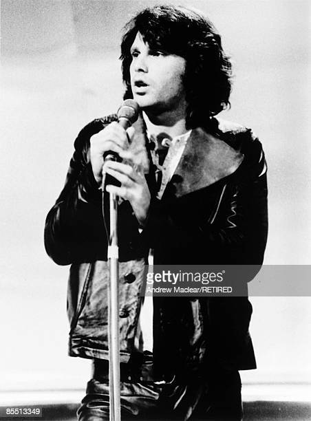 vocalist Jim Morrison from The Doors performs live on stage in September 1968