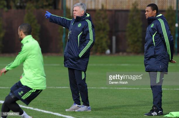 1st team coach Carlo Ancelotti of Chelsea with assistant 1st team coach Michael Emenalo during the Chelsea training session ahead of the UEFA...