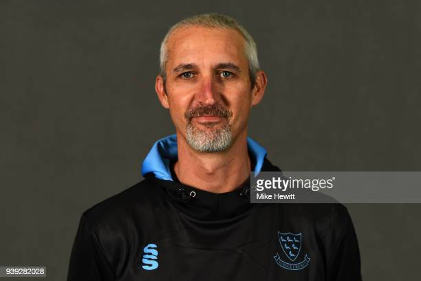 1st team coach Jason Gillespie of Sussex poses for a portrait during a Sussex CCC photocall at The 1st Central County Ground on March 28 2018 in Hove...
