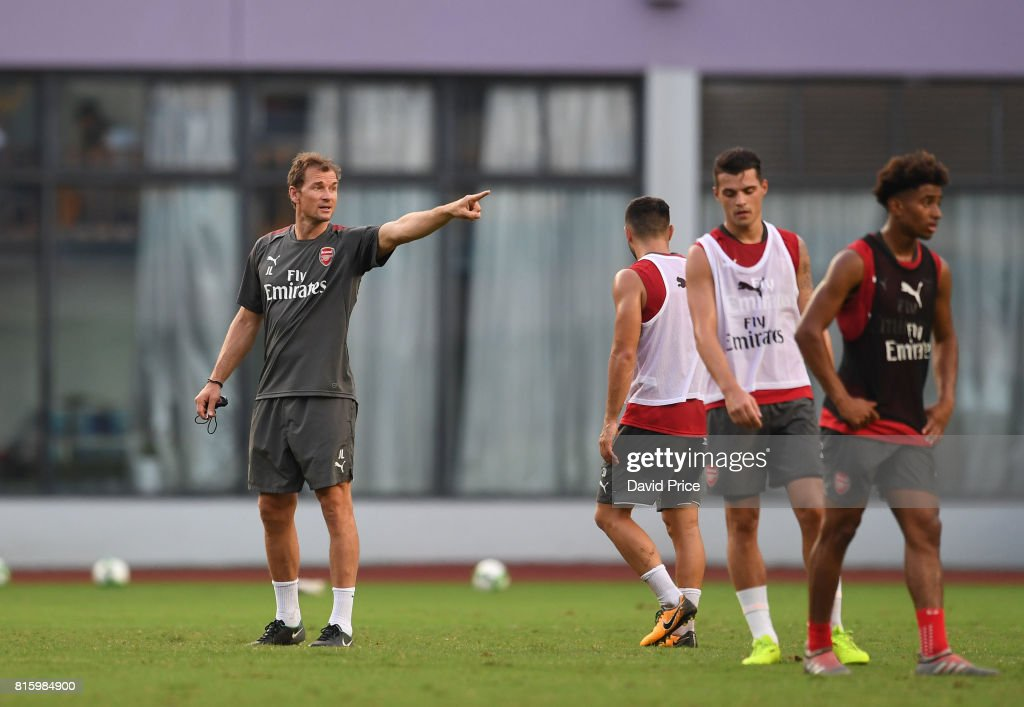 1st team coach Jens Lehmann during an Arsenal Training Session at Yuanshen Sports Centre Stadium on July 17, 2017 in Shanghai, China.