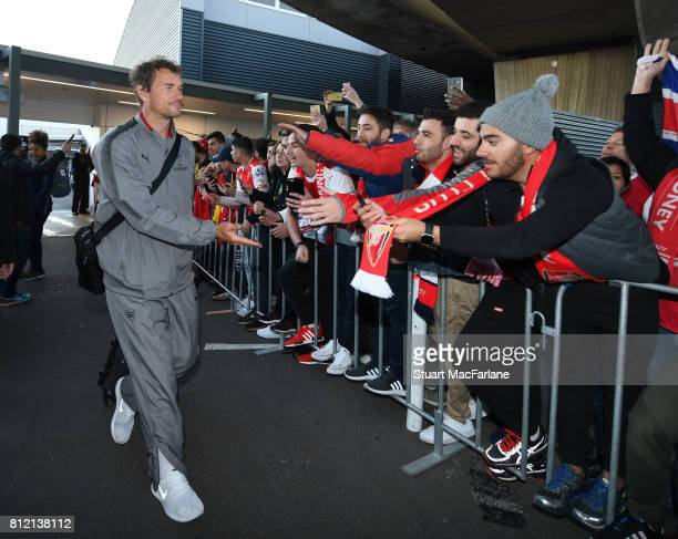 1st team coach Jens Lehmann meets Arsenal fans at Sydney airport on July 11 2017 in Sydney New South Wales