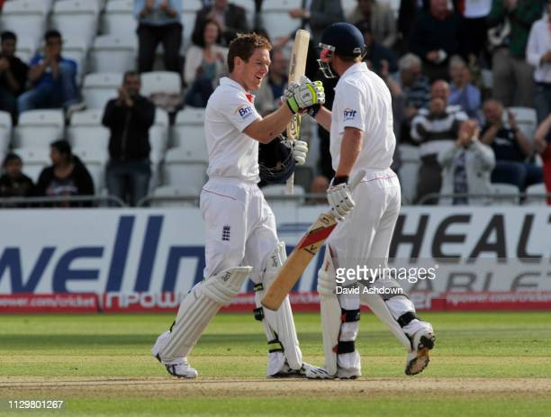 1st TEST AT TRENT BRIDGE 1st DAY 29/7/2010. EOIN MOGAN AFTER GETTING 100.