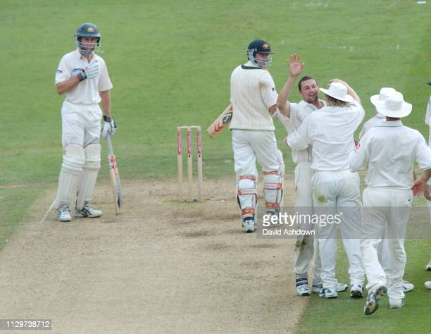 1st TEST ENGLAND V AUSTRALIA AT LORDS 2nd DAY STEVEN HARMISON TAKES THE WICKET OF DAMIEN MARTYN LBW 22/7/2005.