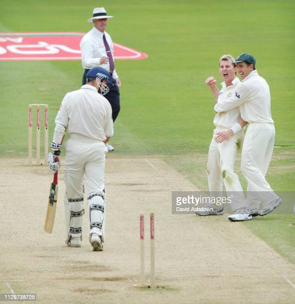 1st TEST ENGLAND V AUSTRALIA AT LORDS 3rd DAY BRETT LEE TAKES THE WICKET OF MICHAEL VAUGHAN 23/7/2005.