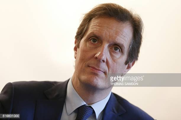 1st vice-president of the Ile-de-France Region Jerome Chartier takes part in a press conference on unemployment and training programs, with French...