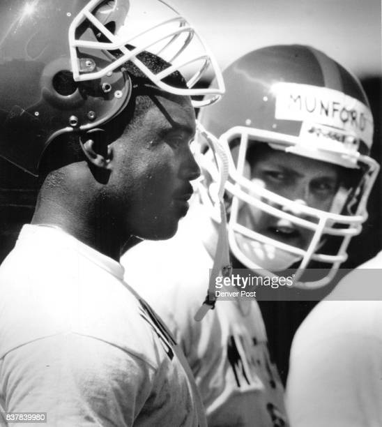 MAY 9 1987 1st year linebackers Michael Brooks and Marc Munford are two of the keys in plugging some holes in Denver's linebacking crew Both were...