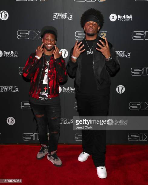 1TakeJay and 1TakeOcho attend the Blxst & Bino Rideaux 'Sixtape 2' release event at The Theatre at Ace Hotel on July 15, 2021 in Los Angeles,...