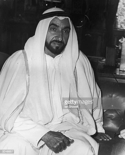 Sheikh Zayed bin Sultan alNahayan ruler of Abu Dhabi at the British Foreign Office in London where he met Foreign Secretary Michael Stewart The visit...