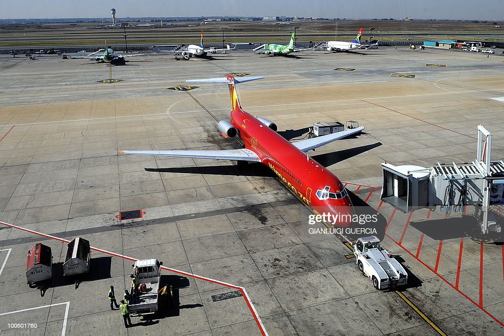 A 1time, a South African low budget airline, carrier gets ready to take off on the tarmac on May 25, 2010 at the Johannesburg O.R Tambo International airport in Johannesburg, South Africa. South Africa will host the FIFA World Cup 2010 from June 11th to July11th.