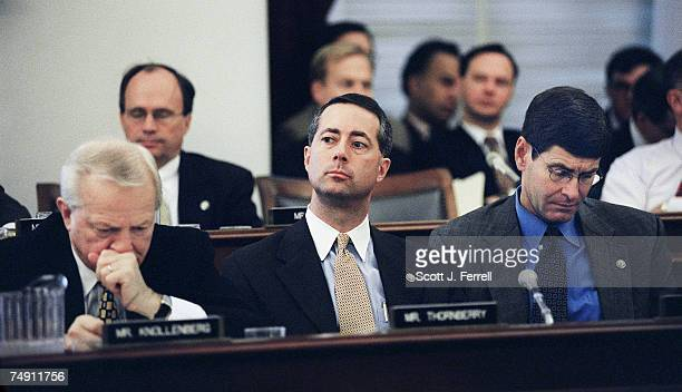 """House Budget members Joe Knollenberg, R-Mich., William M. """"Mac"""" Thornberry, R-Texas, and Jim Ryun, R-Kan., listen to the testimony of OMB director..."""
