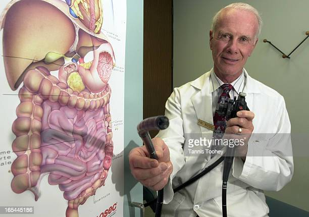 Dr Warren Rudd at Rudd Clinic which specializes in the treatment and prevention of colon disease seen here with a colonoscope which is used in...