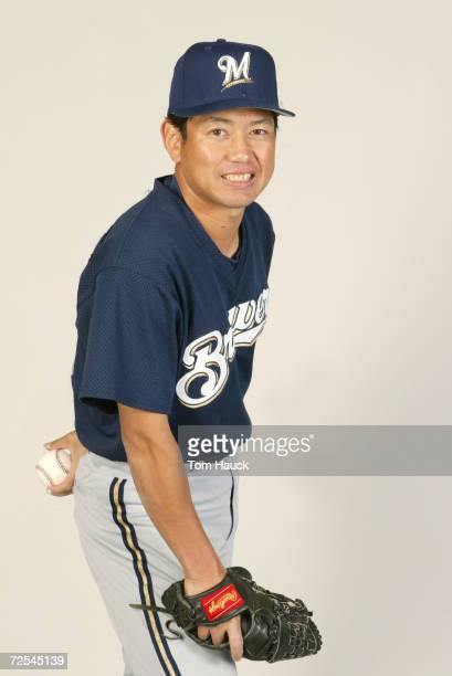 Takahito Nomura of the Milwaukee Brewers poses for a photo during Team Photo Day at the Brewers Training Facility in Marysville Az Digital Photo...