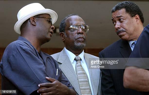 COFLYERJUNE 10TH 2003Community activist Alvertis Simmons <cq> left and Rev Paul Martin <cq> talk with Denver Mayor Wellington Webb <cq>during a press...