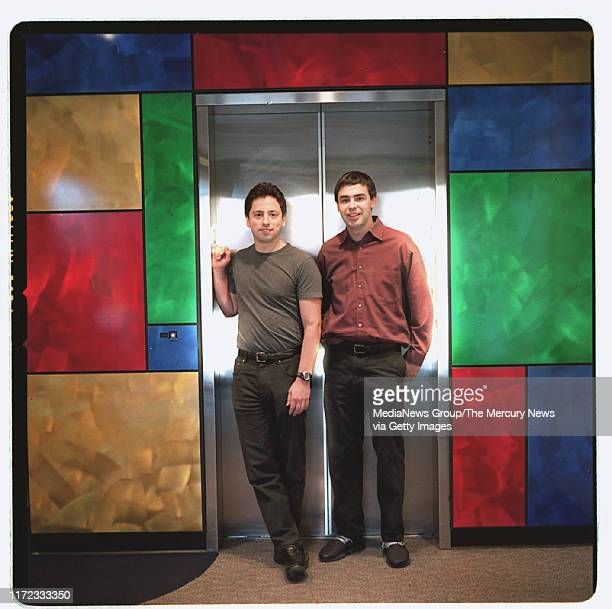 MARCH 13 2003Google founders Sergey Brin left and Larry Page right are framed in the companies Mt View office elevator on Thursday March 13 2003...