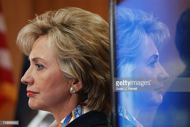 OF 2003Sen Hillary Rodham Clinton DNY during a news conference with Sen Conrad Burns RMont on a bill they are cosponsoring that is aimed at...