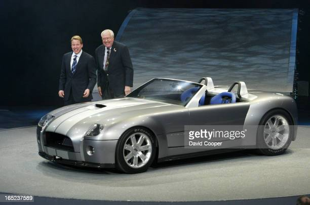 Carroll Shelby, , and Bill Ford Jr introduce the Ford Shelby Cobra Concept Sunday Night during the Press Preview days at the North American...
