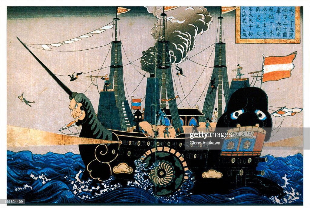 """BOULDER, COLORADO, MARCH 10, 2004--This Japanese wood-block print depicting Commodore Perry's ship stands in sharp contrast to its western counterpart titled """"Perry Carrying the Gospel of God to the Heathen"""" that """"reminded Americans that Cmmodore Perry's  : News Photo"""