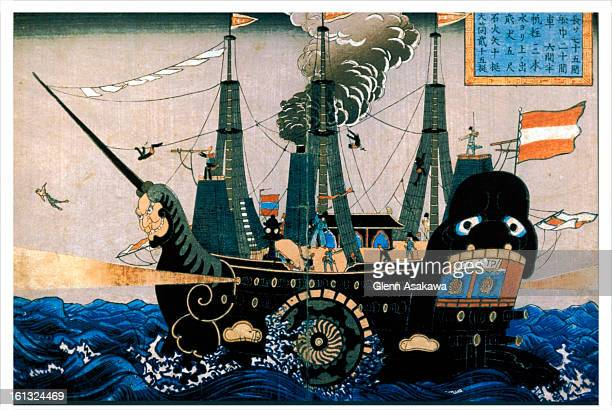 BOULDER COLORADO MARCH 10 2004This Japanese woodblock print depicting Commodore Perry's ship stands in sharp contrast to its western counterpart...