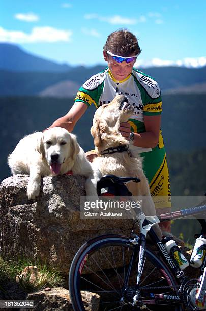 BOULDER COLORADOMAY 19 2005Pro cyclist Tyler Hamilton <cq> plays with his dogs outside his west Boulder home before going for a ride Hamilton ever...
