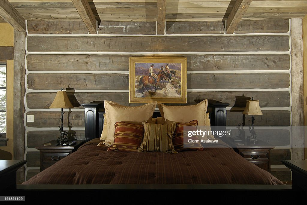 SILVERTHORNE, COLORADO, OCTOBER 27, 2006--Room recently walked through the custom-built 11,000-square-feet ski and golf retreat in Silverthorne owned by electronics manufacturing mogul Randy Winegard. The house was predominantly built out of reclaimed tim : News Photo