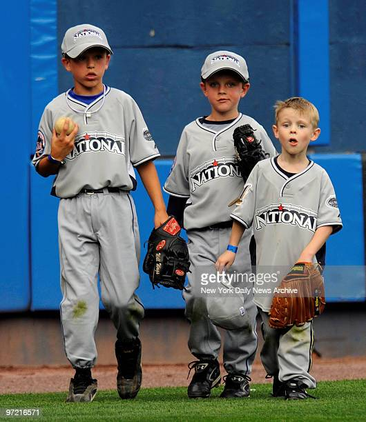 All Star Game at Yankee Stadium., Home Run Derby Night., Mets Billy Wagner's sons Will Jeremy and Brewers Ben Sheets son Seaver,6 play in the...