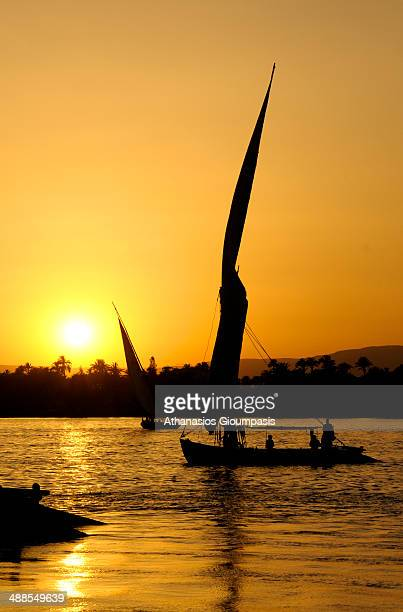 Felluca a traditional Egyptian sail boat in Nile a major north-flowing river in northeastern in Africa Luxor city in Upper Egypt on April 29, 2008 in...