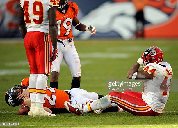 DENVERCODECEMBER 7TH 2008Peyton Hillis injured on this play against Jarrad Page right and Brandon Carr Kansas City Chiefs in the second quarter of...