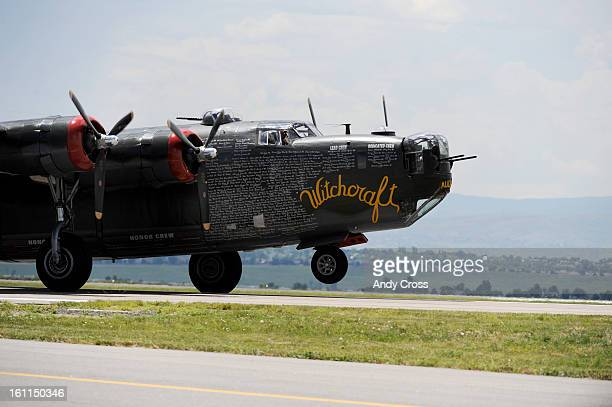 BROOMFIELD COJUNE 27TH 2009Flight crew for the Consolidated B24J Liberator Witchcraft WWII Heavy Bomber <cq> land the historic aircraft at the Rocky...