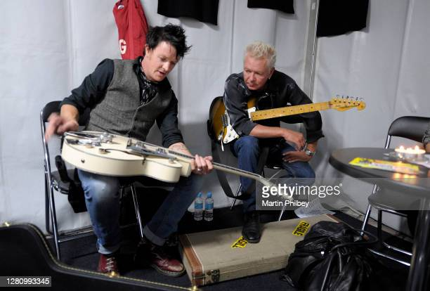 Iva Davies and Chris Cheney backstage at Earth Hour in Federation Square 28th March 2009 in Melbourne Australia