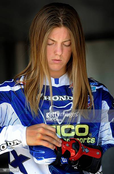 LAKEWOOD COJUNE 27TH 2009Motocross racer Vicki Golden 16yearsold from El Cajun California secures a wrist brace before heading out to race in the...