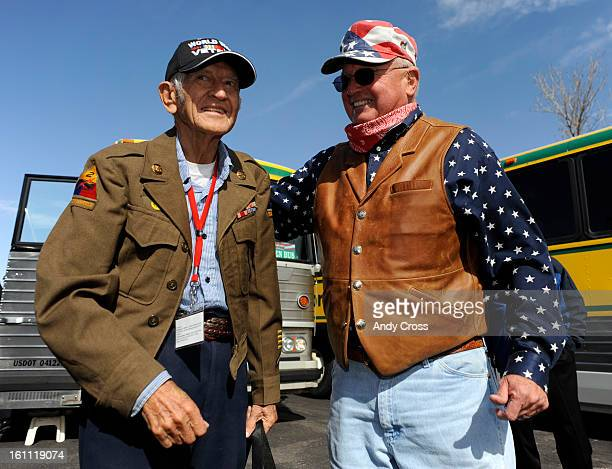 DENVER COAPRIL 28TH 2009Pete Gunderson right welcomes WWII Veteran Albert Chotvacs at Signature Flight Support at DIA Tuesday moring 131 World War II...