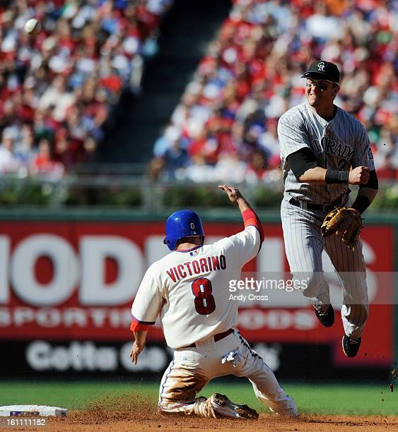 PHILADELPHIA PAOCTOBER 8TH 2009Troy Tulowitzki gets Shane Victorino Philadelphia Phillies out at second unable to get Chase Utley out at first in the...