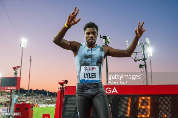200m Men Noah Lyles of United States celebrates the win during the Diamond League athletics meeting Athletissima at Stade olympique de la Pontaise on...