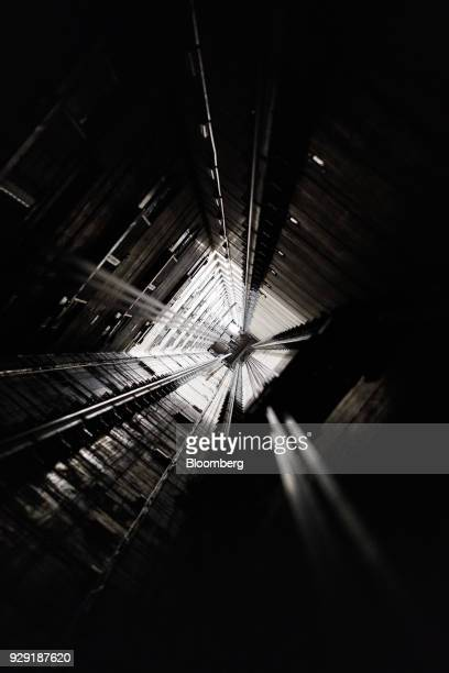 A 200meterdeep elevator test shaft sits in the Kone Oyj High Rise Laboratory in Tytyri Finland on Tuesday March 6 2018 Kone which manages a global...