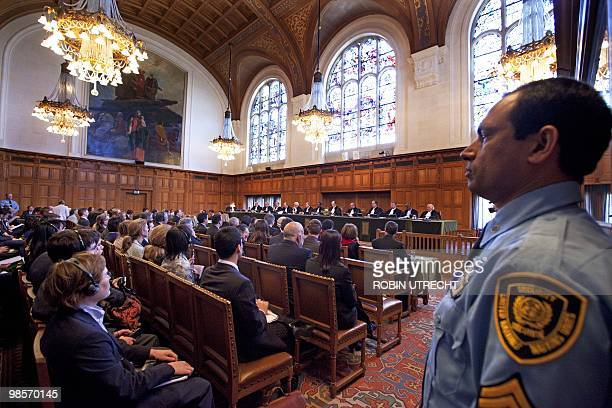 The International Court of Justice is seen on April 20, 2010 in the Hague as it delivers its judgement in a dispute between Argentina and Uruguay...