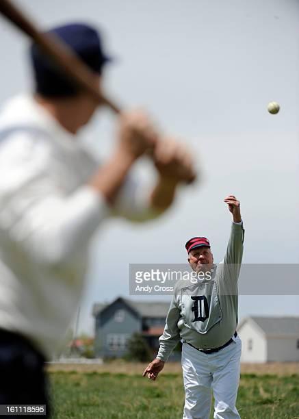 COMAY 8TH 2010Denver Blue Stockings hurler Tom Irish Valaika 71yearsold pitches to a Mastodon Mine Mintrel during the Colorado Vintage Baseball...