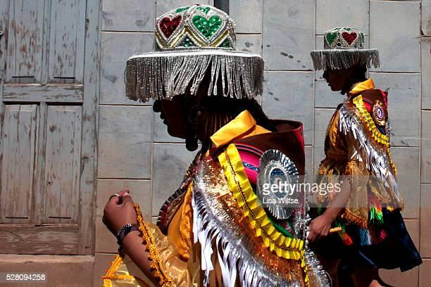 Virgen de la Candelaria Participants preparing parade through the streets of Copacabana during the Fiesta de la Virgen de la Candelaria is held to...