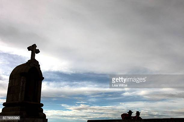 Virgen de la Candelaria Pic shows Cerro Calvario a hill in Copacabana lined with small monuments representing the 14 Stations of the Cross taken the...