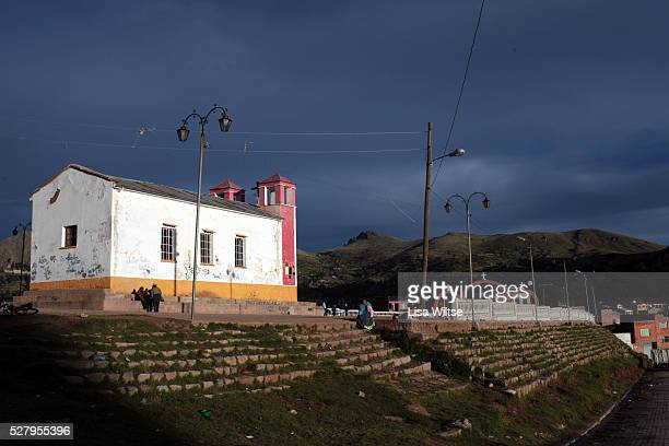 Virgen de la Candelaria. View of a church during the Fiesta de la Virgen de la Candelaria is held to honour the Virgen or the Dark Virgin of the Lake...