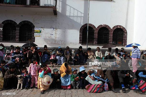 Virgen del la Candelaria. Crowds watch the parade during the the fiesta de la Virgen de la Candelaria is held to honour the Virgen or the Dark Virgin...