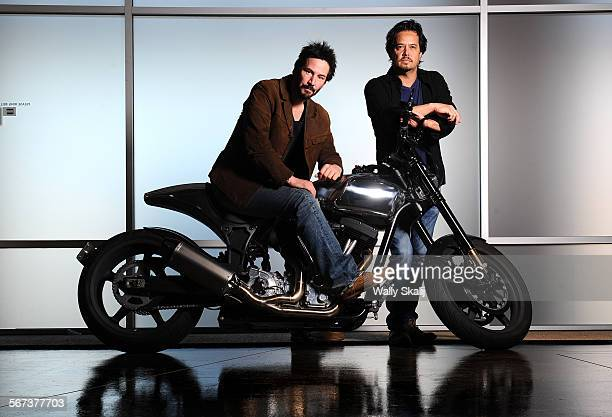 Actor Keanu Reeves left and Gard Hollinger have teamed to create Arch Motorcycles makers of highperformance and very expensive motorcycles in...