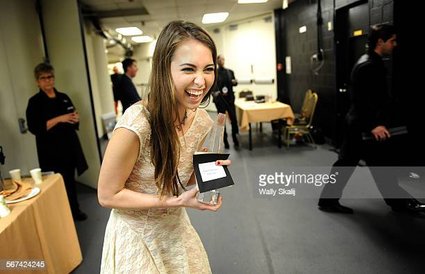 Adult Entertainer Riley Reid is all smiles back stage after winning female performer of the year during the Xbiz adult film awards at the Century...