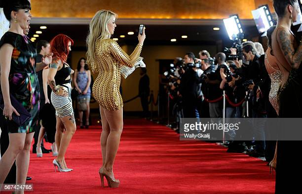 Adult Entertainers pose for photos on the red carpet during the Xbiz adult film awards at the Century Plaza hotel in Century City
