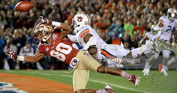 Auburn's Chris Davis is called for pass interference agsinst Florida St receiver Rashad Greene in the end zone to set up the wining touchdown in the...
