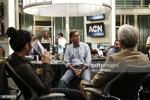 HOLLYWOOD CA MAY 9 2014Emmywinner and show creator Aaron Sorkin center talks to the cast of HBO's The Newsroom before shooting a scene at Sunset...