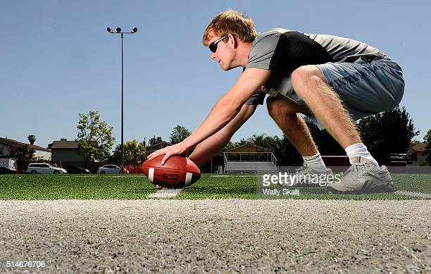 Jake Olson who is blind is a long snapper for the Orange Lutheran High football team and is also part of the school's golf team