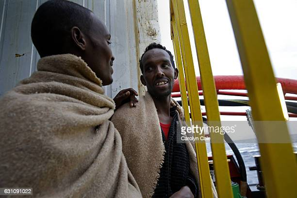SEANOV 22 2016Hassan Ahmed age 24 of Somalia and a Somali friend are two of the lucky 411 migrants who were rescued off of a smuggler ship on Nov 22...