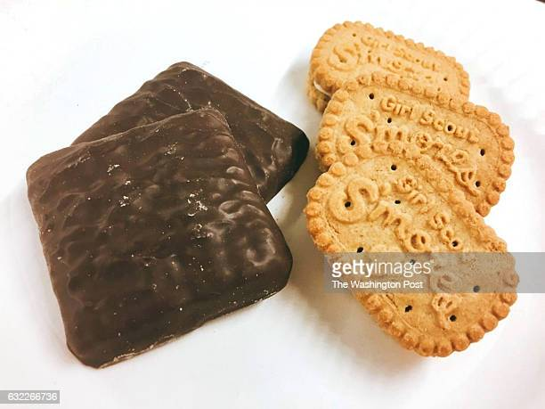 The new Smores Girl Scout cookies from the Girl Scouts two bakeries: ABCs version is on the left, and Little Brownie Bakers cookie is on the right.