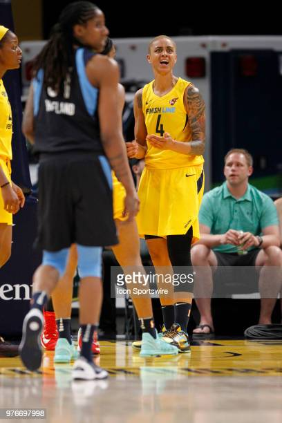 Indiana Fever forward Candice Dupree reacts to the call during the game between the Atlanta Dream and Indiana Fever June 16 at Bankers Life...