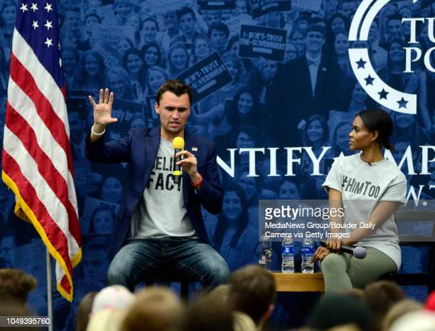 OCTOBER 3 2018nCharlie Kirk and Candace Owens of Turning Point USA speak on the University of Colorado Boulder Campus on Wednesday Oct 3 2018 The...